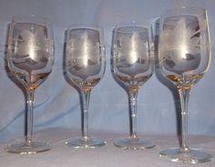 Vintage Crystal Wine Goblets – Etched Flower & Leaves – Set of 4