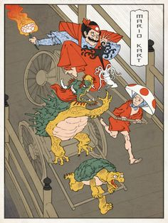 Ukiyo-e Heroes: Donkey Kong Visits Japan Mario racing a rickshaw, Kirby wielding a katana, and Donkey Kong bounding past cherry blossoms. In his fantastical Ukiyo-e Heroes series, illustrator Jed Henry reimagines classic. Star Fox, Japanese Paper, Japanese Painting, Japanese Prints, Japanese Rice, Japanese Artwork, Mario Kart, Mario Bros, Mario Brothers