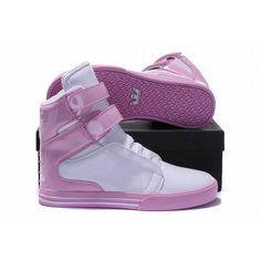 kids pink white kid supra high tops leather shoes