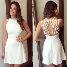 White Short Homecoming Dress with Beads,Simple Homecoming Dress,Short Graduation Cheap Dresses, Sexy Dresses, Dress Outfits, Short Dresses, Prom Dresses, Formal Dresses, Short Graduation Dresses, Simple Homecoming Dresses, Fashion Vestidos