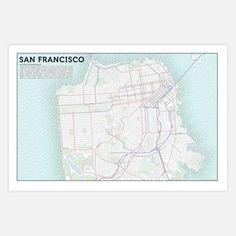 San Francisco - Typographic Topography Axis Maps