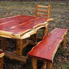 Rustic Cedar Table With Chairs And Benches