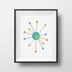 Atomic Mid Century Modern print Atomic Starburst by StarburstBetty
