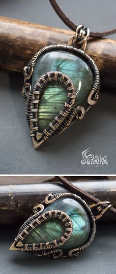 Bronze wire wrapped pendant with labradorite