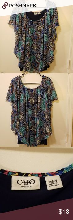 NWOT,  CATO Woman Blouse Size 22/24W, beautiful combination of colors. Has both black and navy blue. Navy blue under shirt. CATO Tops Blouses