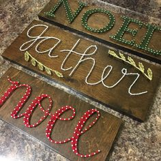 Noel Cursive String Art board, Christmas string art by SeasonOfSeeking on Etsy https://www.etsy.com/listing/258191554/noel-cursive-string-art-board-christmas