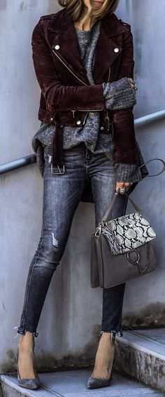 799e7df9279  spring  fashion Brown Velvet Jacket  amp  Grey Ripped Skinny Jeans  amp   Grey