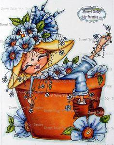 INSTANT DOWNLOAD Digital Digi Stamps Big Eye Big Head Dolls Digi   Besties Garden Fancy Pants Dreaming Scan13 By Sherri Baldy