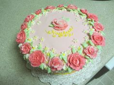 Cakeopolis: # 125 Baby Kay's 1st Birthday Cake. Old fashioned flowers on one cake