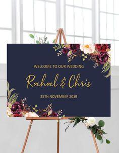 Navy wedding welcome sign, marsala wedding decorations, gold wedding ideas, navy marsala wedding decor, wedding signs from Pink Summer Designs on Etsy #weddingideas