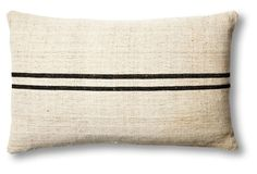 European Black Stripe & Linen Pillow