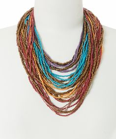 Look at this ZAD Blue & Red Multi-Strand Buckle Necklace on #zulily today!
