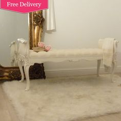 Chateau White Bed End Stool / Bench, French style. gold mirror, fur rug elegant bedroom furniture
