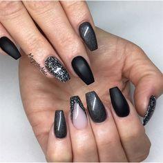 Matte black, glitter coffin nails