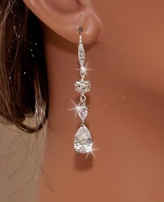 JESS - White Gold CZ and Rhinestones Bridal Earrings