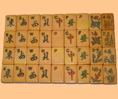 1940's Ivorycraft vintage Two-toned Mah Jong Set: Winds, Dragons, & Flowers(no people)