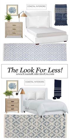 White Upholstered Bed, White Oak, Blue And White, Home Budget, Coastal, Bedroom, Storage, Interior, Modern