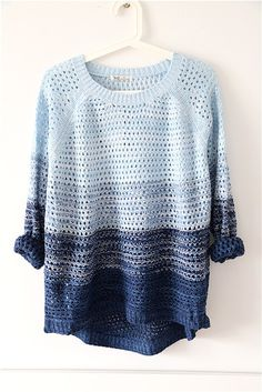 New Autumn blue gradient knitted sweater $26.99