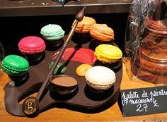 Macarons on chocolate paint, chocolate brush, chocolate base. WOW