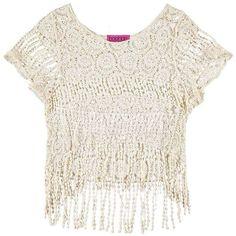 Boohoo Jonna Crochet Fringed Crop Top (30 PLN) ❤ liked on Polyvore featuring tops, macrame top, crochet top, white fringe top, flat top and white crop top