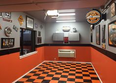 Mens Small Garage Paint Ideas Orange And Black Life a fresh coat on a classic car, bring your space back to life with the top 50 best garage paint ideas for men. Discover manly wall colors and designs. Garage Paint, Garage Walls, Garage Interior, Interior Paint, Garage Design, House Design, Harley Davidson, Garage Floor Tiles, Garage Flooring