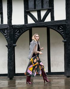 Don't be afraid to layer and mix. Here I opted for bright and bold colors wearing a Roksanda printed dress, Tibi and Brunello Cucinelli knits and Tory Burch boots.