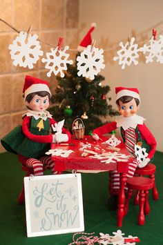 Elf on the Shelf Ideas. Who else made paper snowflakes as a child? Making paper snowflakes is a common and loved holiday craft. To view more pins like this one, search for Pinterest user amywelsh18.