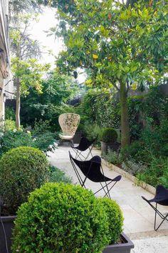 chaises design en métal noir, fauteuil artistique et végétation luxuriante