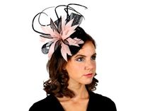 Nude and black Rosie Fox sinamay fascinators. Wedding fascinators and millinery hats on clip or headband - perfect for formal events, Ascot & the races.