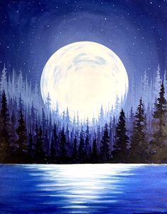 Painting the night sky starry sky full moon oil painting on canvas moon painting moonlight . - Painting of the night sky starry sky full moon oil painting on canvas moon painting moon light pain - Moon Painting, Acrylic Painting Canvas, Acrylic Art, Diy Painting, Painting & Drawing, Watercolor Paintings, Canvas Art, Watercolor Moon, Lake Painting