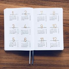 Bullet journal yearly overview. | @helenes.journal