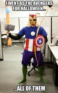 Creative Avengers costume.