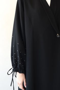 Black abaya with embroidered gathered sleevesYou can find Abaya fashion and more on our website.Black abaya with embroidered gathered sleeves Modern Hijab Fashion, Abaya Fashion, Muslim Fashion, Fashion Outfits, Abaya Designs Latest, Abaya Designs Dubai, Simple Abaya Designs, Moslem, Parda