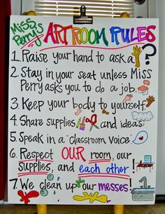 Art Room Rules Drawn Out Art Classroom Posters, Art Classroom Decor, Art Room Posters, Art Classroom Management, Class Management, Classroom Ideas, Classroom Organization, Classroom Quotes, Classroom Setting