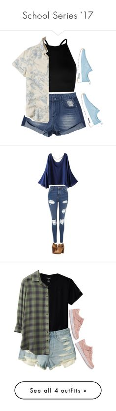 """""""School Series '17"""" by alyroxmaxxx ❤ liked on Polyvore featuring Boohoo, Hollister Co., NIKE, WithChic, Topshop, Frye, RVCA, Monki, ZeroUV and Converse"""