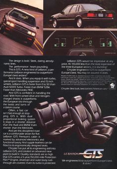 1985 Chrysler LeBaron vintage advertisment
