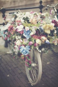 Pastel Flower Bike Photo-Colorful Bohemian Dutch Vintage Bicycle-Wall Art-Home Decor- Vintage Style via Etsy Pastel Flowers, Fresh Flowers, Beautiful Flowers, Amsterdam Flower Market, Bike Photo, Back Home, Organic Gardening, Gardening Tips, Bloom