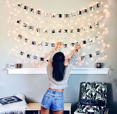 fairy lights + polaroids