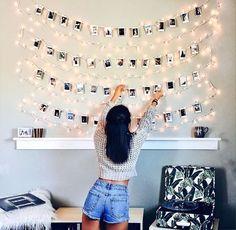 fairy lights + polaroids