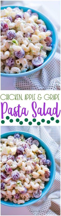 Chicken Apple and Grape Pasta Salad Recipe via Landeelu - This is always a crowd-pleaser! Easy Pasta Salad Recipes - The BEST Yummy Barbecue Side Dishes, Potluck Favorites and Summer Dinner Party Crowd Pleasers