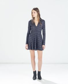 Image 1 of SHINY V-NECK DRESS WITH WAIST SEAM from Zara---Love this Look!!!!