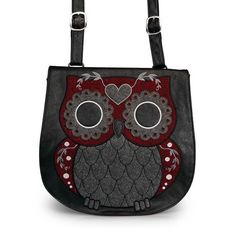 Tweed Owl Crossbody Messenger Bag by Loungefly (Grey/Burgundy)