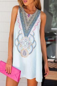 Round Neck Abstract Print Mini Dress