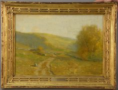 "BRUCE CRANE (1857-1937)  An Afternoon Ramble  oil on canvas  signed lower right and on label on reverse Bruce Crane  in Newcomb Macklin frame  14"" x 20"""
