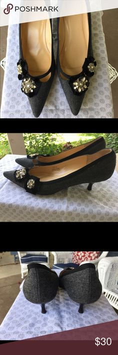 J. Crew Black And Gray Kitten Heels Slight wear - seen on soles but otherwise fantastic condition! Nice details and very professional! J. Crew Shoes Heels