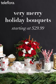 Festive holiday bouquets perfect for teachers, neighbors, friends or your own holiday party. Christmas Flower Arrangements, Christmas Flowers, Christmas Scenes, Christmas Centerpieces, Winter Christmas, All Things Christmas, Christmas Decorations, Family Christmas, Floral Arrangements