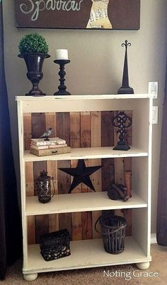 To repurpose old pressed wood bookcases: take the flimsy back off and replace with stained 2x4s or 1x4s