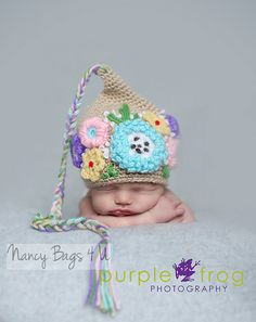 Newborn Baby Hat Girl Photo Prop Crochet Newborn by NancyBags4U, $38.00