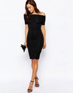 Image 4 of ASOS Bardot Off Shoulder Midi Bodycon Dress