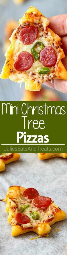 Christmas Tree Mini Pizza ~ This is the perfect Holiday Small Bite Party Appetizer. Ready in 30 minutes these mini pizzas are definitely crowd-pleasers! via @julieseats
